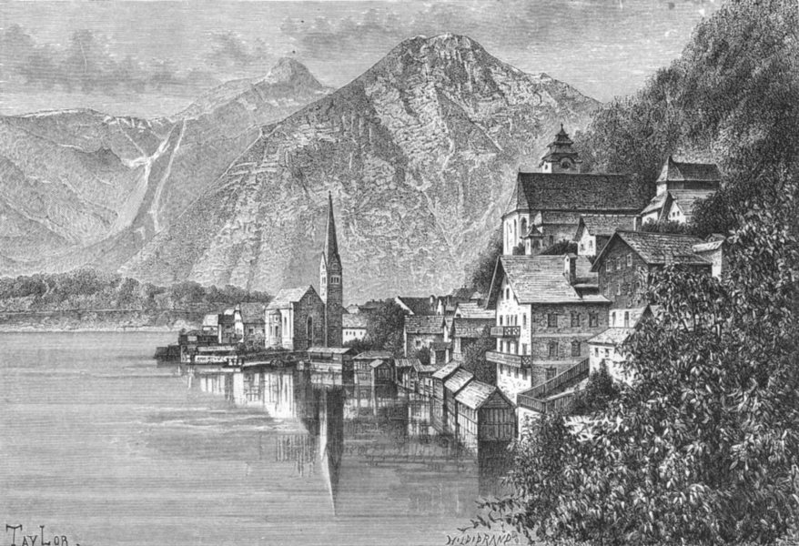 Associate Product AUSTRIA. Hallstatt lake c1885 old antique vintage print picture