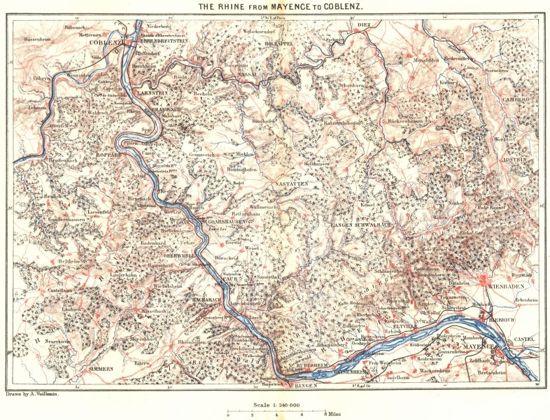 Associate Product GERMANY. Rhine from Mainz to Coblenz c1885 old antique vintage map plan chart