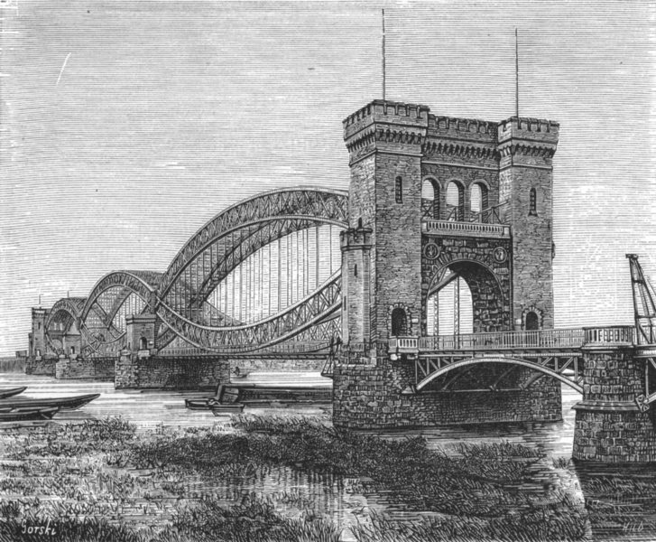 Associate Product GERMANY. Rail bridge, Elbe, Harburg Hamburg c1885 old antique print picture
