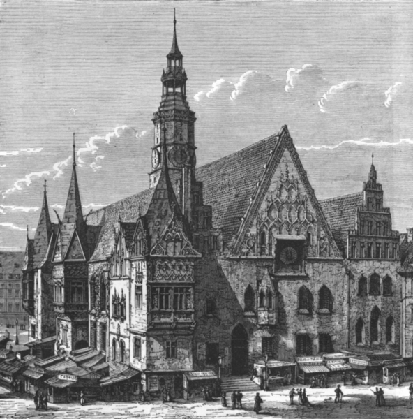 Associate Product POLAND. Town hall of Wrocław c1885 old antique vintage print picture