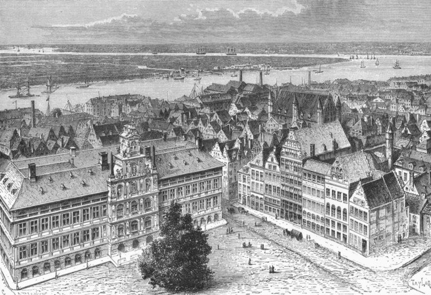 BELGIUM. Antwerp & Schelde c1885 old antique vintage print picture