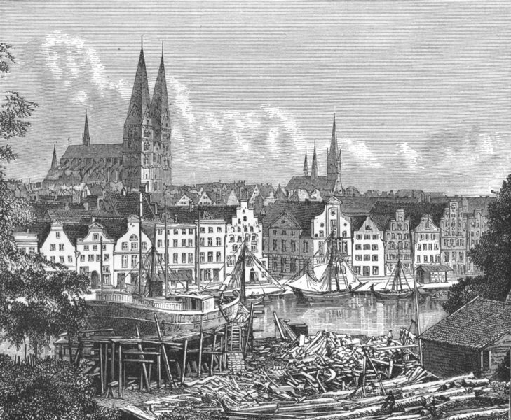 Associate Product GERMANY. Lubeck c1885 old antique vintage print picture