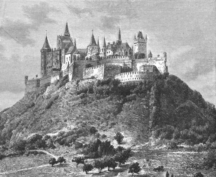 Associate Product GERMANY. Castle of Hohenzollern c1885 old antique vintage print picture