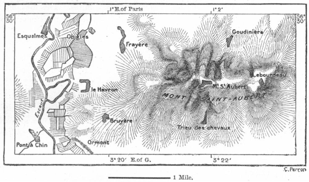 Associate Product BELGIUM. Mont St Aubert, Tournay, sketch map c1885 old antique plan chart
