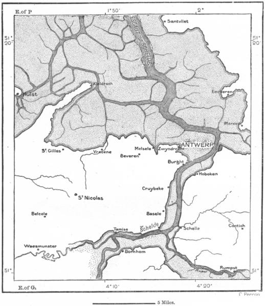 Associate Product BELGIUM. Lower Schelde 11th C Stessels, sketch map c1885 old antique chart