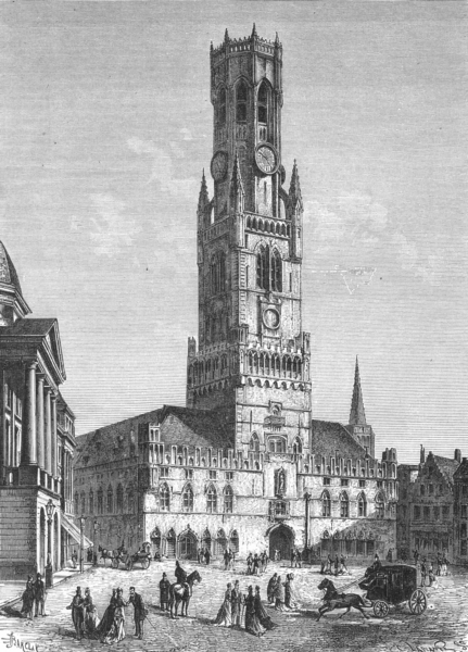 Associate Product BELGIUM. Belfry of Brugge c1885 old antique vintage print picture