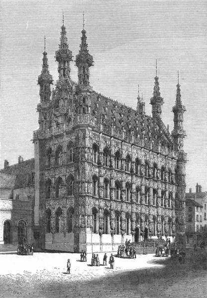 Associate Product BELGIUM. Town hall of Louvain c1885 old antique vintage print picture