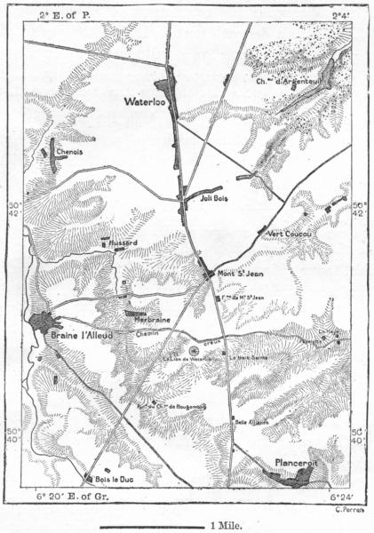 Associate Product BELGIUM. Field of Waterloo, sketch map c1885 old antique plan chart
