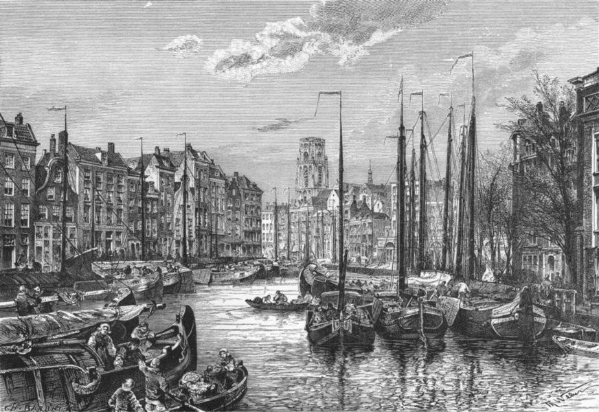 Associate Product NETHERLANDS. Rotterdam-port c1885 old antique vintage print picture