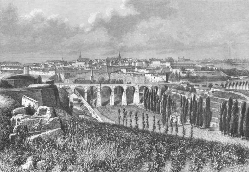 Associate Product LUXEMBOURG. Luxemburg, from Fort Dumoulin c1885 old antique print picture