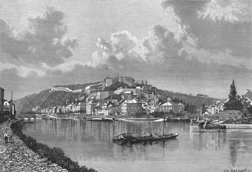 Associate Product BELGIUM. Namur c1885 old antique vintage print picture