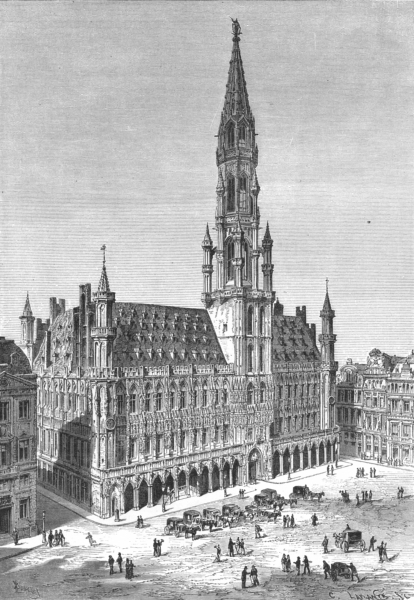 Associate Product BELGIUM. Town hall of Brussels c1885 old antique vintage print picture