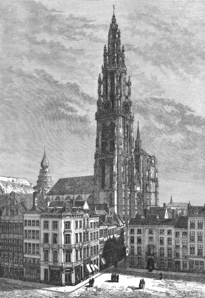 Associate Product BELGIUM. Cathedral of Antwerp c1885 old antique vintage print picture