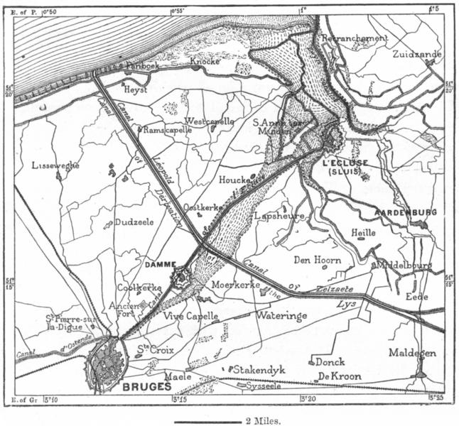 Associate Product BELGIUM. Brugge & Zwyn, sketch map c1885 old antique vintage plan chart