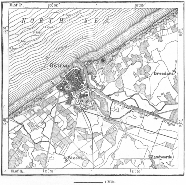 Associate Product BELGIUM. Ostend, sketch map c1885 old antique vintage plan chart