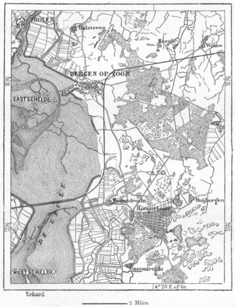 Associate Product NETHERLANDS. Bergen-op-zoom, sketch map c1885 old antique plan chart