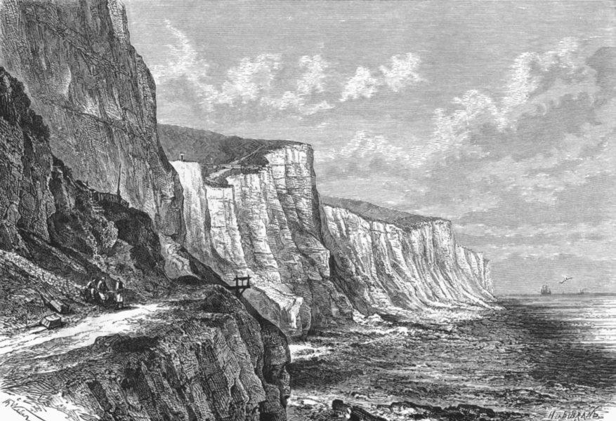 Associate Product KENT. Cliffs E of Dover c1885 old antique vintage print picture