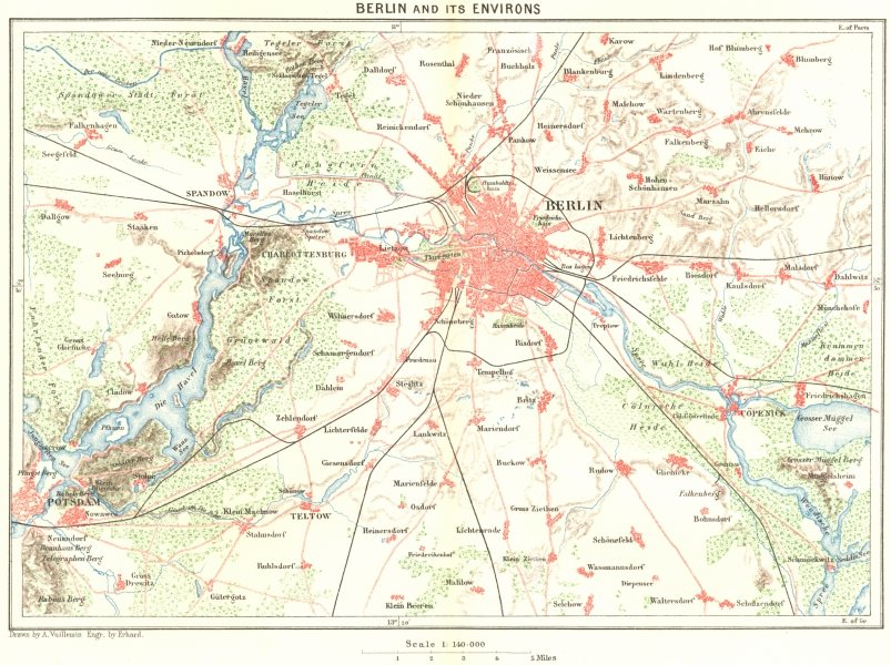 Associate Product GERMANY. Berlin area c1885 old antique vintage map plan chart