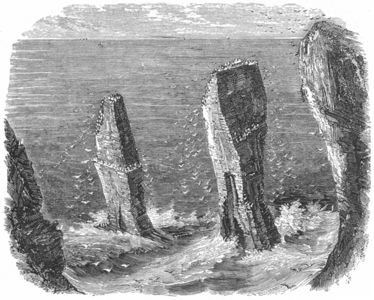 Associate Product WALES. Stack rocks, south c1885 old antique vintage print picture