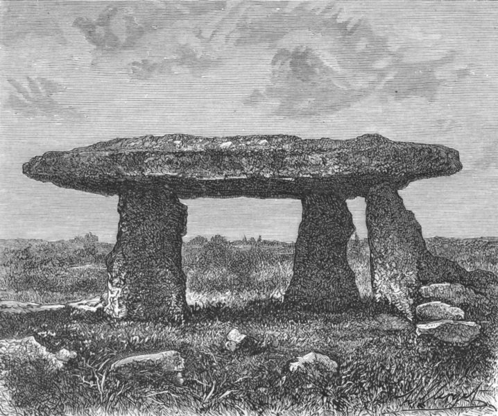 Associate Product CORNWALL. Giant's Quoit at Lanyon, Penzance c1885 old antique print picture