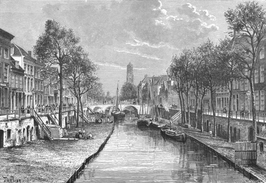 Associate Product NETHERLANDS. Utrecht-Canal c1885 old antique vintage print picture
