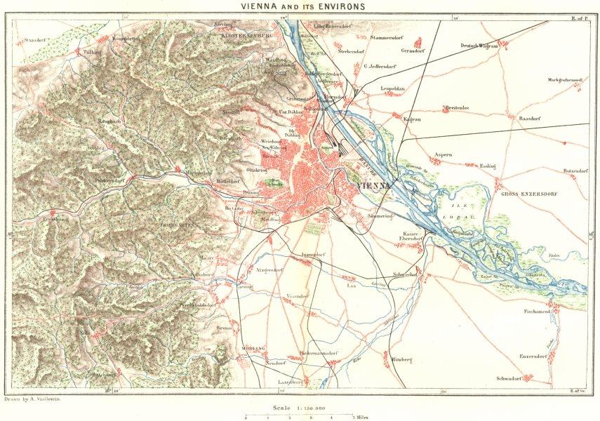 Associate Product AUSTRIA. Vienna area c1885 old antique vintage map plan chart