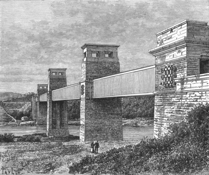 Associate Product WALES. Britannia Tubular bridge, Menai Strait c1885 old antique print picture