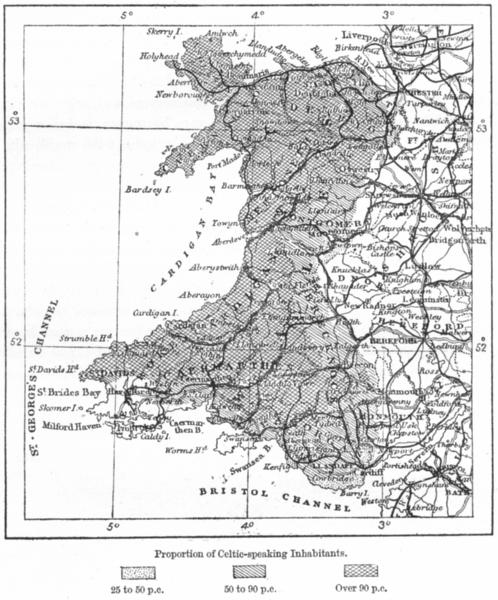 Associate Product WALES. Linguistic, E Ravenstein, sketch map c1885 old antique plan chart