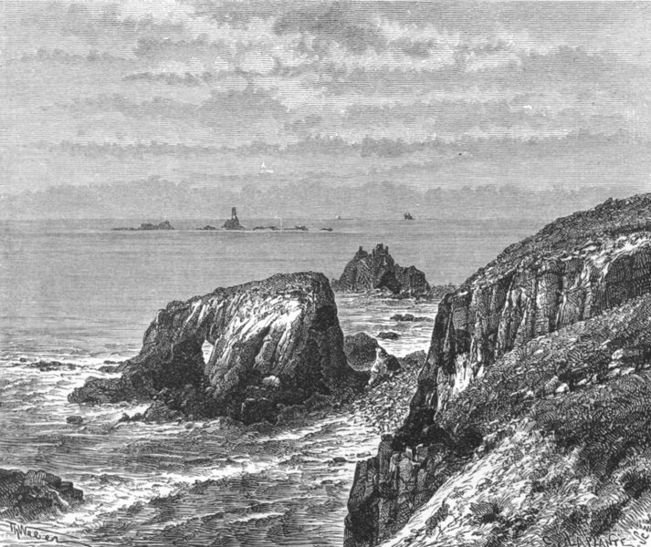 Associate Product CORNWALL. Land's end & Longships Lighthouse c1885 old antique print picture