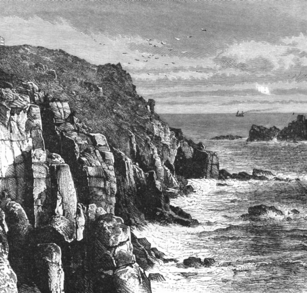Associate Product CORNWALL. Armed Knights, land's end c1885 old antique vintage print picture