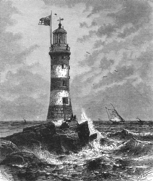 Associate Product DEVON. Smeaton's Eddystone Lighthouse c1885 old antique vintage print picture