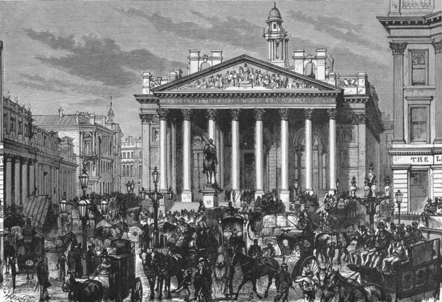 Associate Product LONDON. Royal Exchange c1885 old antique vintage print picture