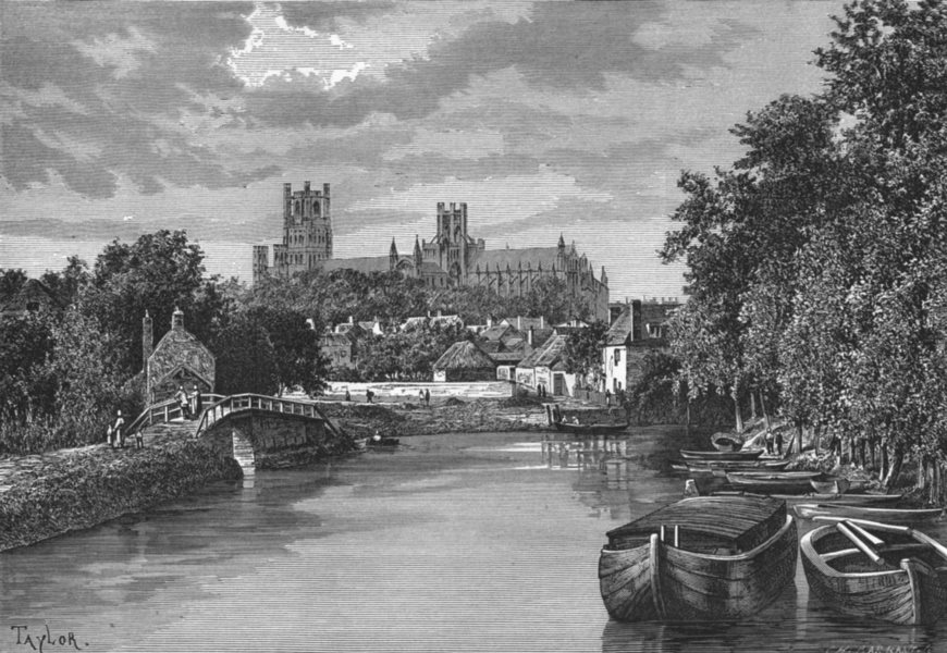 Associate Product CAMBS. Ely, Banks of Ouse c1885 old antique vintage print picture