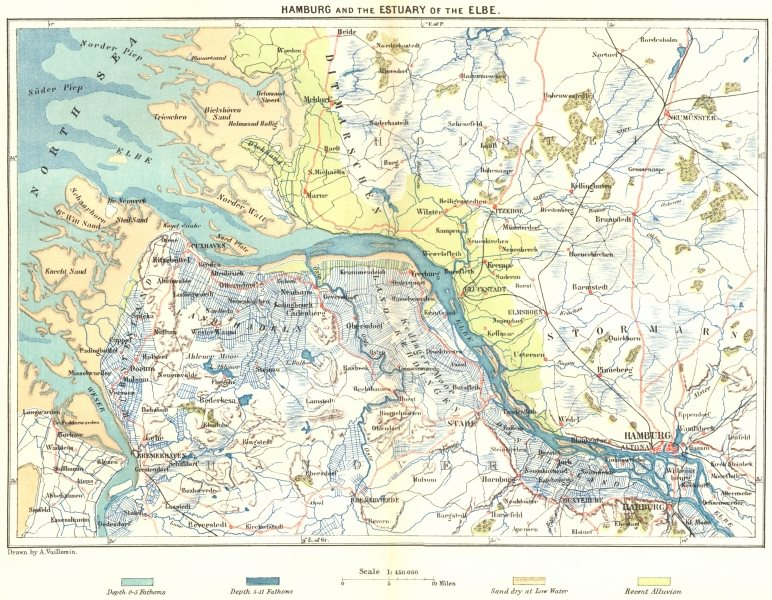 Associate Product GERMANY. Hamburg & Estuary of Elbe c1885 old antique vintage map plan chart