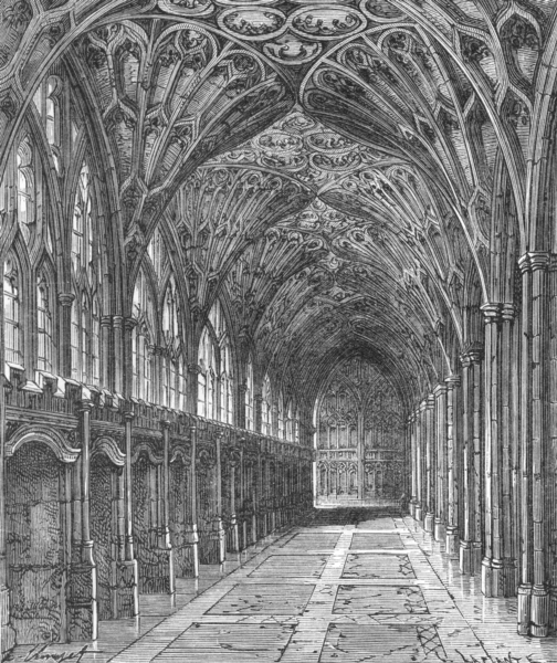 Associate Product GLOS. Cloisters, Gloucester cathedral c1885 old antique vintage print picture