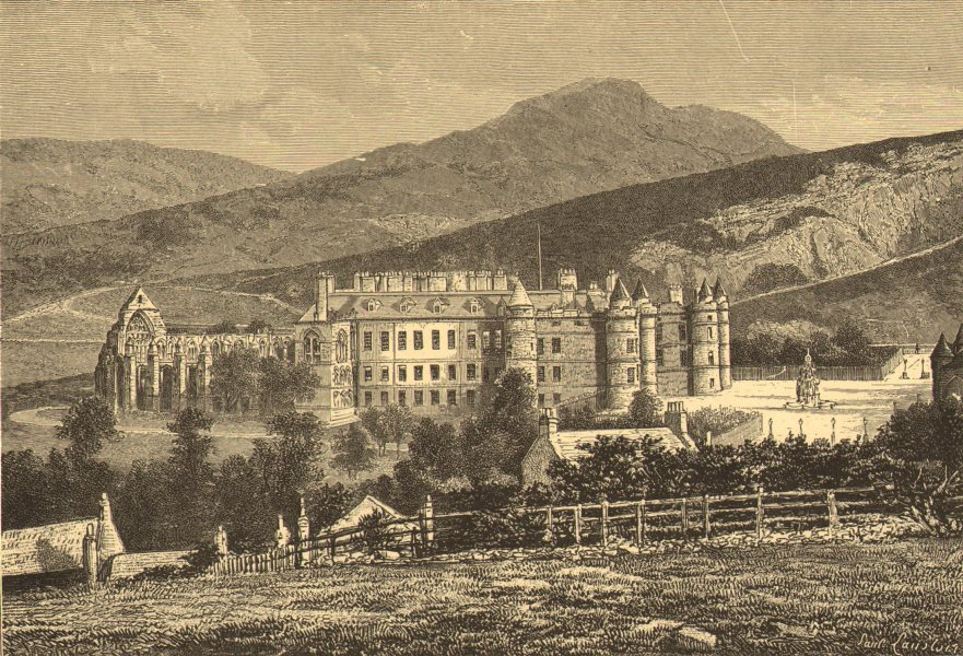 Associate Product SCOTLAND. Holyrood palace & Arthur's seat c1885 old antique print picture