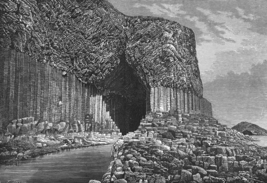 Associate Product SCOTLAND. Fingal's cave, Isle of Staffa c1885 old antique print picture