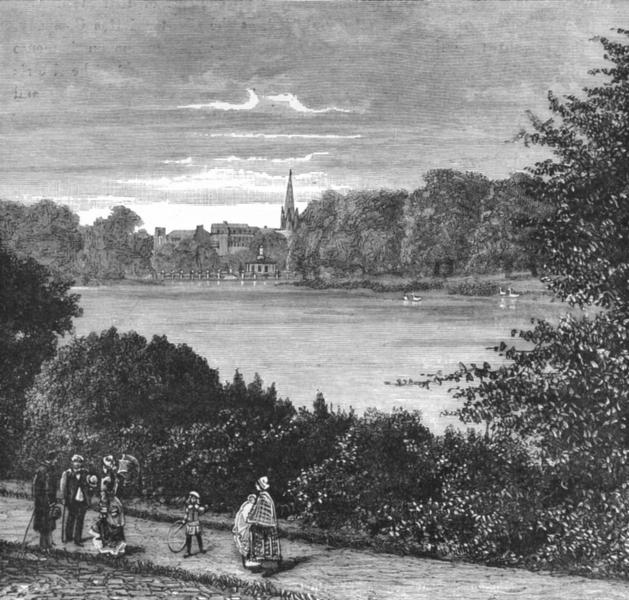 Associate Product LONDON. Hyde Park & Serpentine c1885 old antique vintage print picture