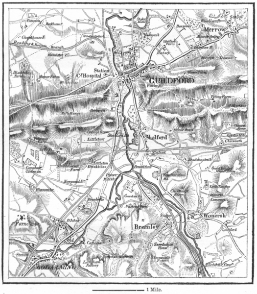 SURREY. Guildford & Godalming, sketch map c1885 old antique plan chart