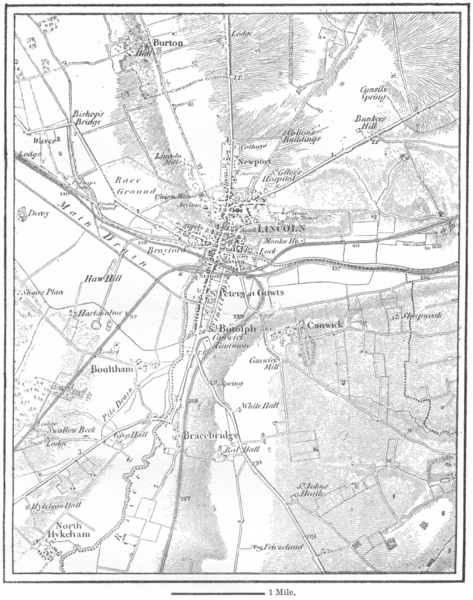 Associate Product LINCS. Lincoln, sketch map c1885 old antique vintage plan chart