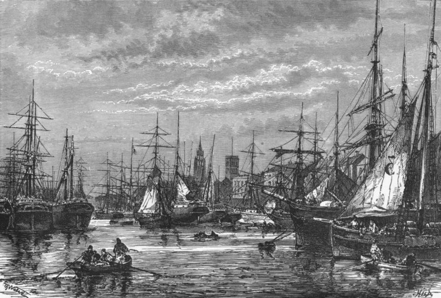 Associate Product LANCS. Liverpool Docks c1885 old antique vintage print picture
