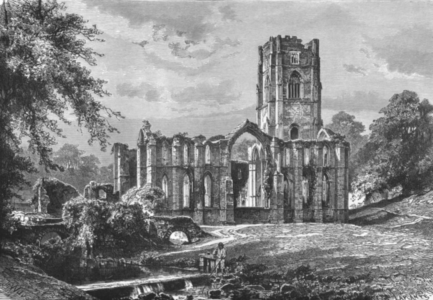 Associate Product YORKS. Ruins, Fountains Abbey c1885 old antique vintage print picture