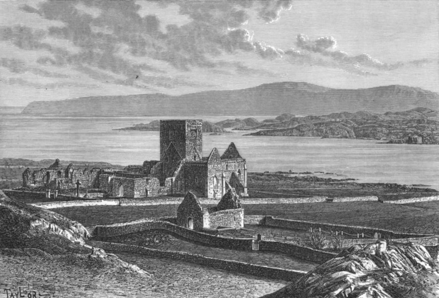 Associate Product SCOTLAND. Ruins, Iona cathedral & Oran's Chapel c1885 old antique print