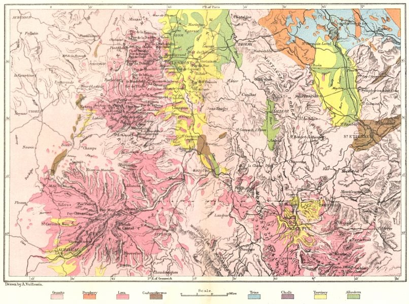 Associate Product CENTRAL FRANCE. Volcanoes of, Geological c1885 old antique map plan chart