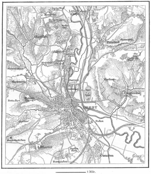 Associate Product LEICS. Derby, sketch map c1885 old antique vintage plan chart