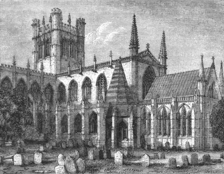 Associate Product CHESHIRE. Chester cathedral(restored) c1885 old antique vintage print picture