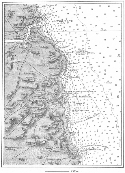 Associate Product DURHAM. Coast Sunderland Tyne, sketch map c1885 old antique plan chart