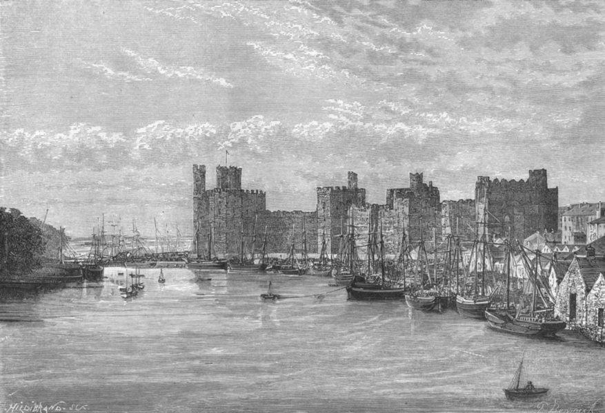 Associate Product WALES. Caernarfon Castle c1885 old antique vintage print picture