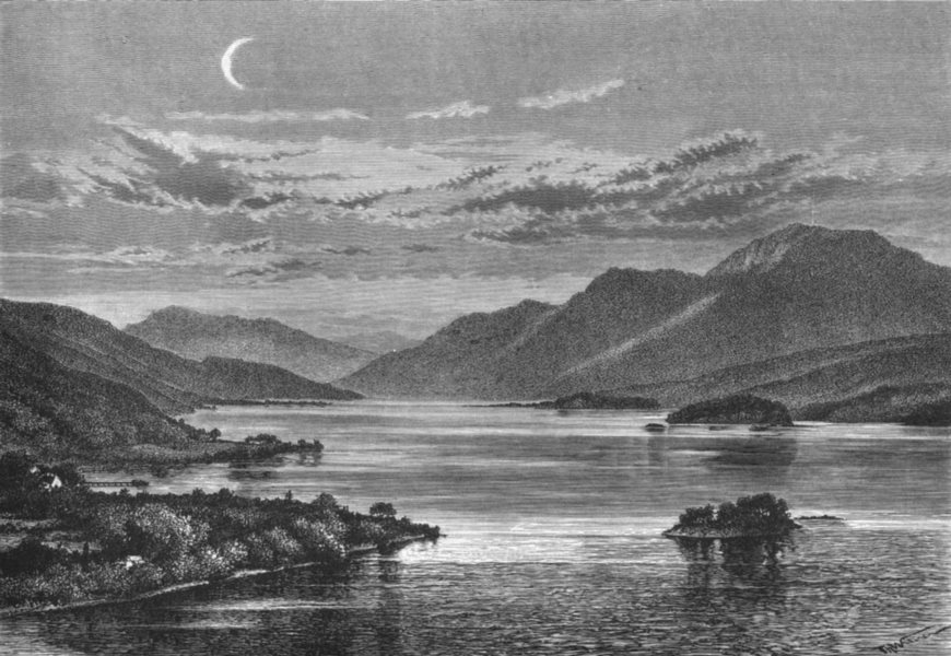 Associate Product SCOTLAND. Loch Lomond & Ben, from Inchtavannah c1885 old antique print picture