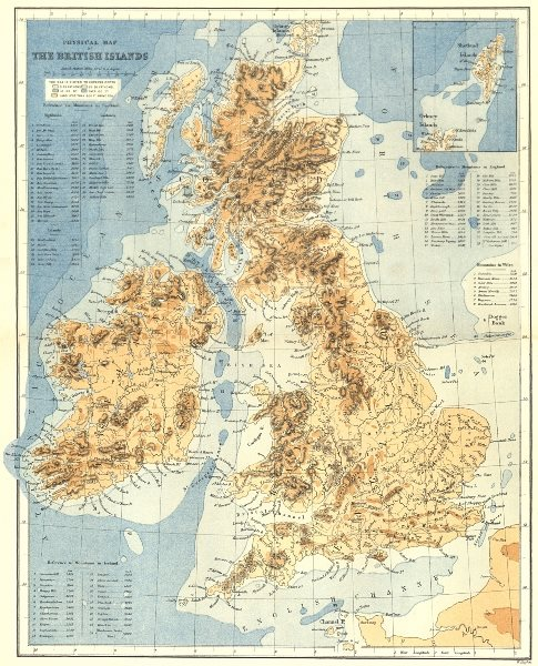 Associate Product UK. Physical British Isles c1885 old antique vintage map plan chart